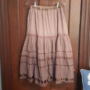 Brown Peasant Boho Skirt